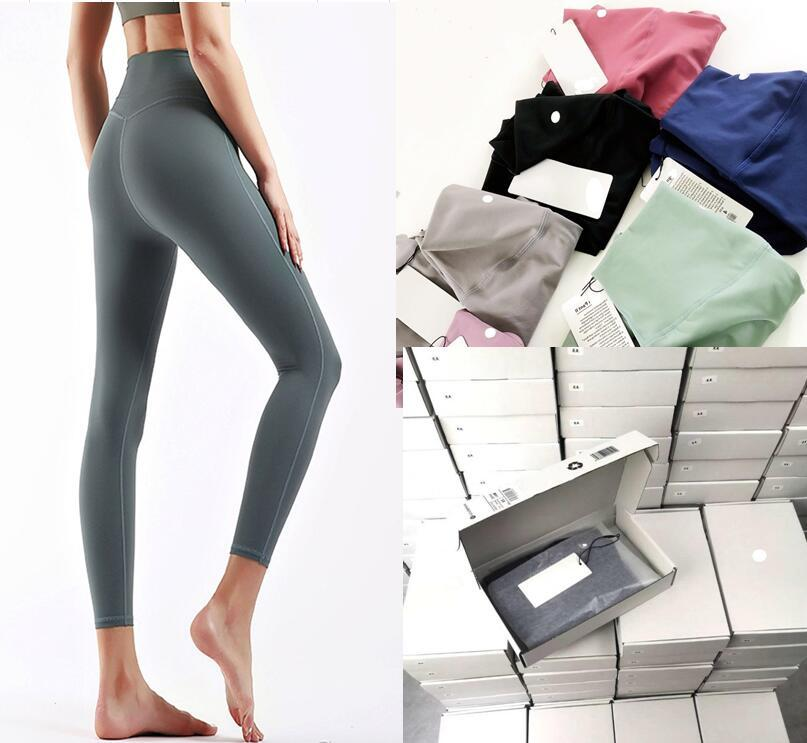 Donne stilista alto yoga pantaloni pantaloni leggings yogaworld donne allenamento fitness set indossare elastico fitness signora calzamaglia piena calzature lu leggings allinea senza soluzione di continuità