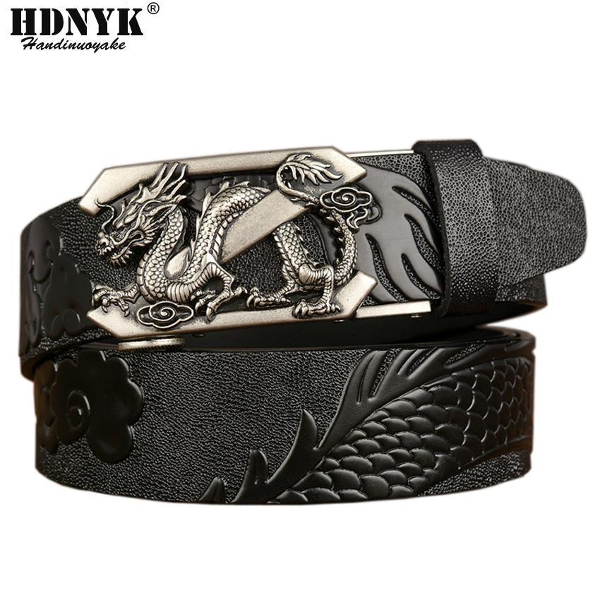 Модная буква Z Dragon Patern Досуг Без пояса мужской роскошный ремень Натуральная кожа для мужской ремни Автоматическая пряжка