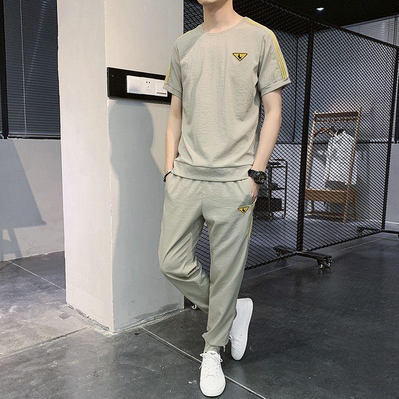 Loisirs 2021 Nouvelle Fashion Coréen Semon de la soie de glace Suit de Sports pour hommes Deux pièces