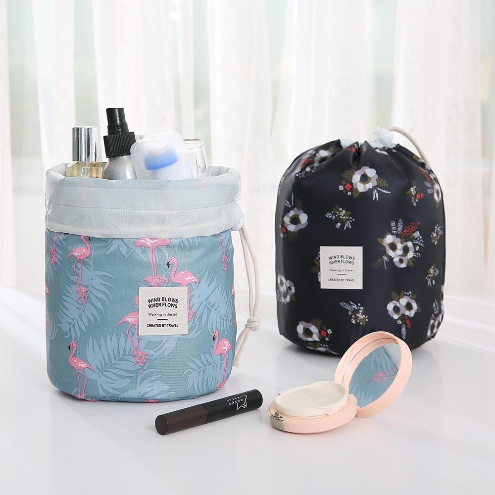 Lady Barrel Kosmetiktasche 12 Arten Schönheit Make-up Tasche Reise Barrel Lagerkorb Faltbare Wasserdichte Polka Aufbewahrung Taschen Seaway GWA8812