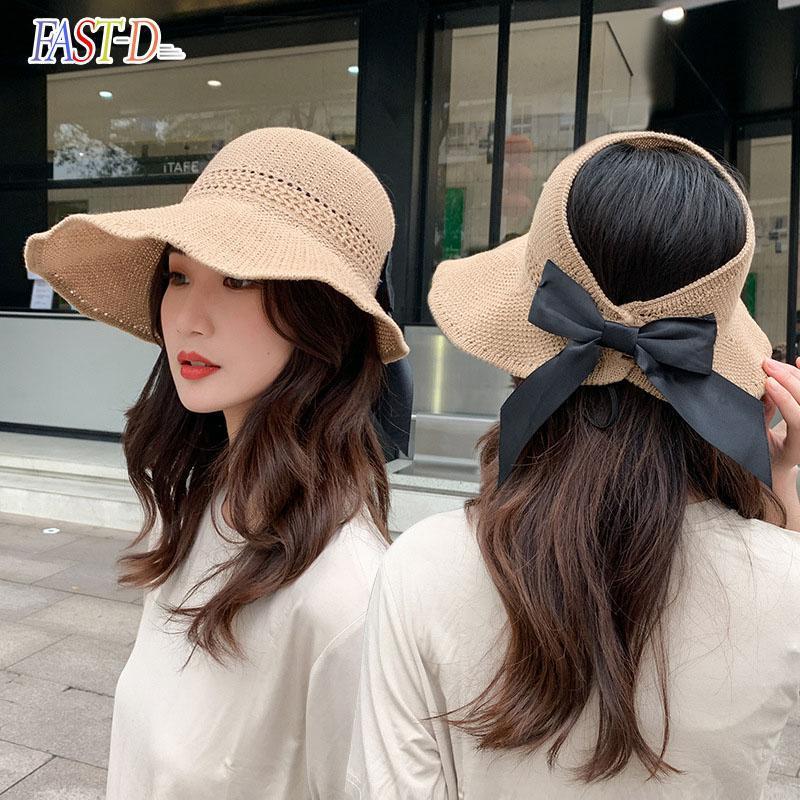 Широкие шляпы Brim 2021 лук солнце пустые топ шляпа женщин ультрафиолетовые отсеки