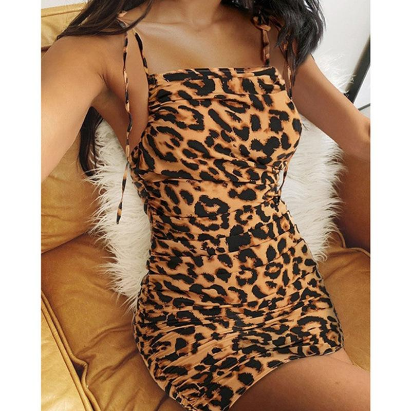 2021 Women Fashion Dress Sexy Halter Belt Dress Leopard Print Slim Dresses Comfortable Summer Multi-color Fashion Skirt