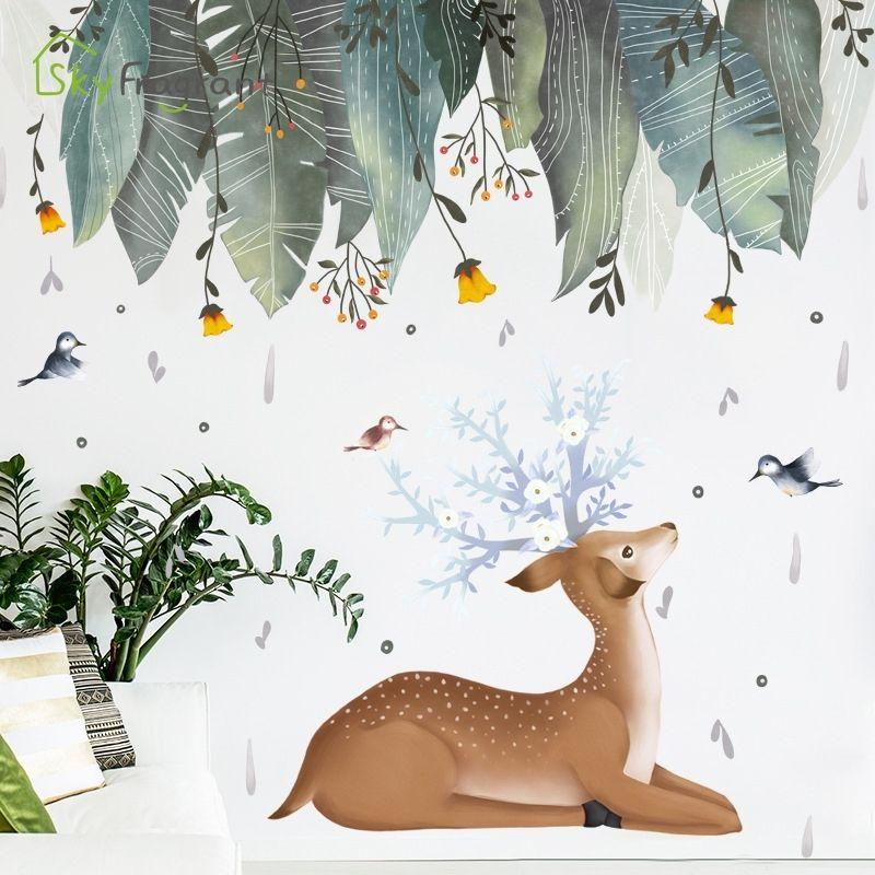 Pegatinas de pared nórdicas deja de hojas de ciervo Pequeño pegatina fresca Decoración para el hogar Sala de estar Detalle Decoración autoadhesiva Pegatinas de habitación Decoración de la habitación 210310
