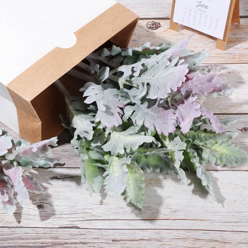 Ушные листья стекающиеся ягнят искусственные листья листья пыльных стеблей стебли флокированный дуб домашний свадьба DIY цветочная композиция 2021 новый