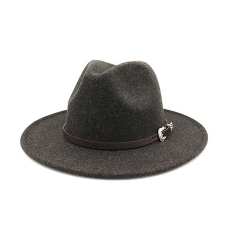 wool hats men women solid color luxury belt band women hats winter wide brim wool fedora felted red white formal men hats