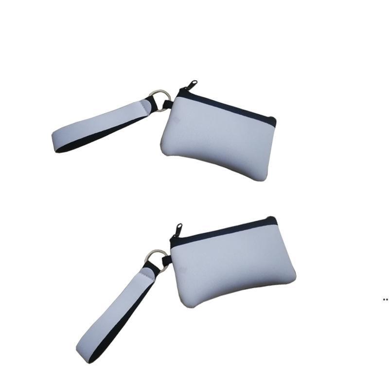Sublimation leer Kreditkartenhalter Wärmeübertragung Print Neopren-Geldbörse mit Lanyard-Wristlet Brieftaschen Handtaschen Dwe5217
