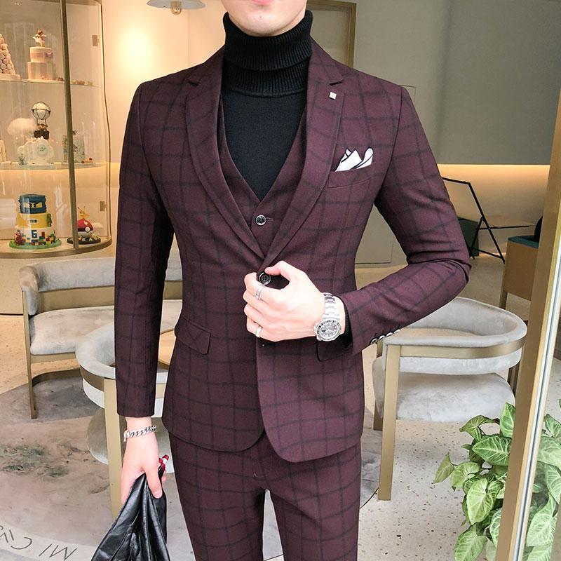 Homens vestido ternos britânicos 3 peiece homens casamento terno novo 2021 outono mens business formal terno formal luxo slim encaixe vestido