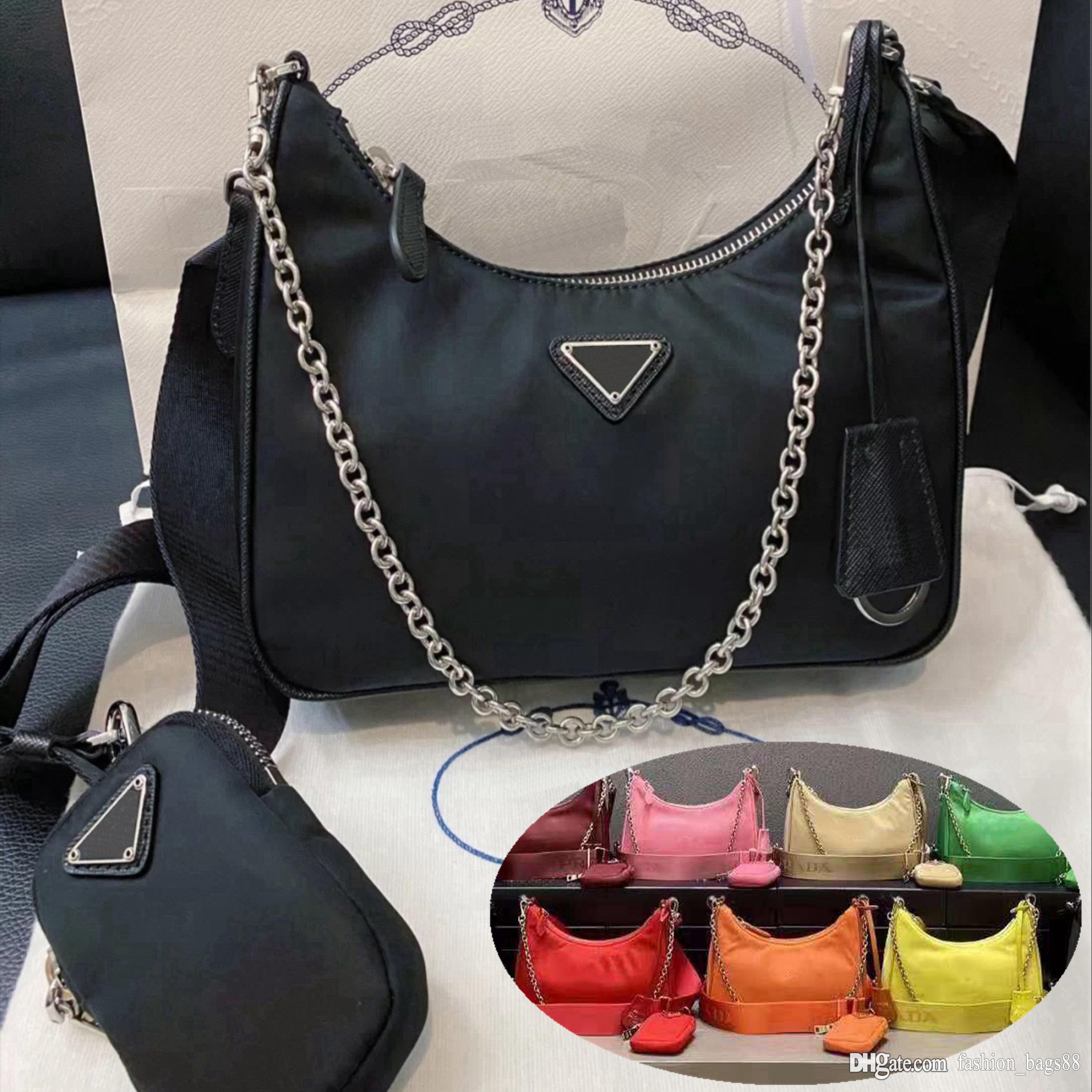 2021 moda luxurys designers sacos senhora womens edição crossbody tote re-edition 2005 nylon hobo ombro mulheres bolsas bolsas pu bolsa carteira carteira e caixa