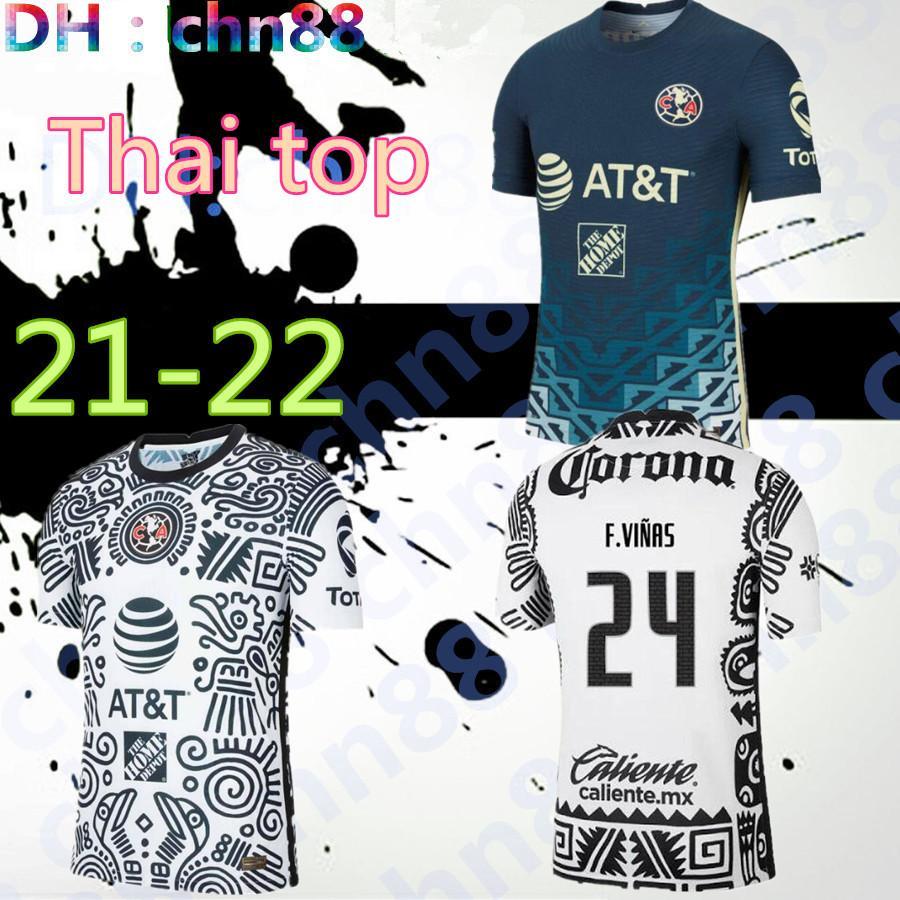 Tamanho S-3XL 2021 2022 Club América Futebol Jerseys F. Vinas Henry Liga MX 20 21 Rodriguez América Terceiro Jersey Goleiro Giovani Homens + Kid Kit Camisa de Futebol