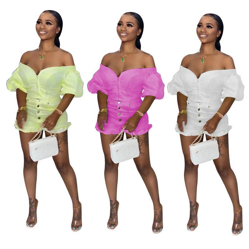 النساء رياضية Zoctuo مائل العنق قطعتين مجموعات للنساء سستة قبالة الكتف مثير مجموعة نفخة الأكمام والسراويل بانت