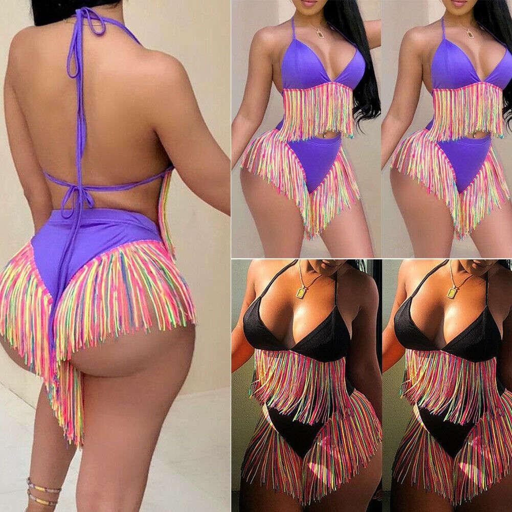 2019 New Women Summer Sexy Bandage Trasles Bikini Set Push-up Cintura Alta Cintura Lace Up Banheira Terno Beachwears