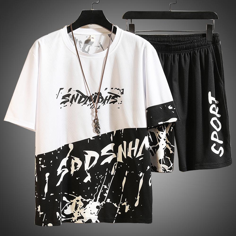 Neue Herren Trainingsanzug Harajaku Hemd Mann Brief Druck Track Anzug 2 Stück Set Sommer Kleidung Für Männer Hip Hop Outfits Männliche Sets 2021 Dryt