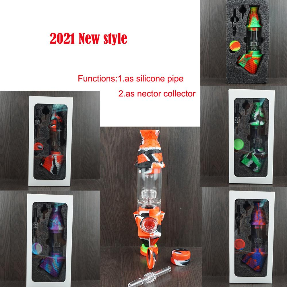 2021 Silicone Nectar Collector Premium Tobacco Bag Set Wax Container Silicone bong with Quartz nail Storage Jar Metal Dabber Smoking Pipe