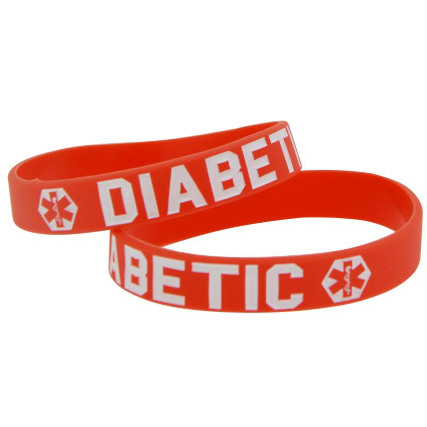 Bracelete de pulseira de silicone diabético 10pcs