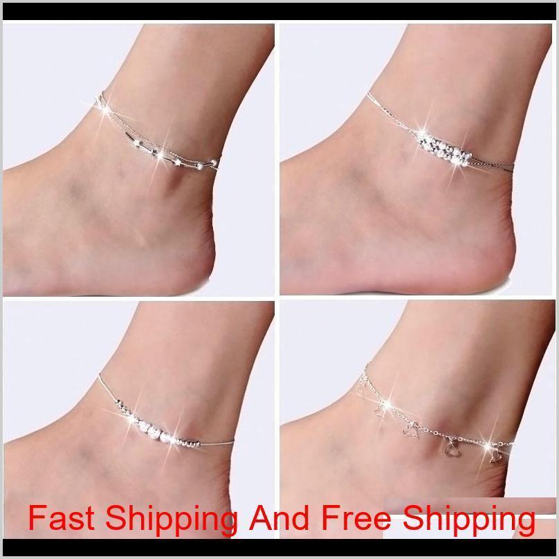 Nuovo braccialetto della caviglia sliver sterling 925 per le donne piede gioielli intarsiati zircone anklets braccialetto su un Le Qyxhs New_dhbest