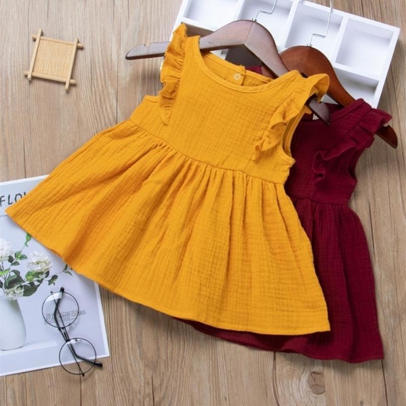 아기 소녀 드레스 2021 여름 디자이너 거품 프릴 슬리브 공주 드레스 귀여운 유아 치마 비행 소매 파티 생일 드레스 H237SDG