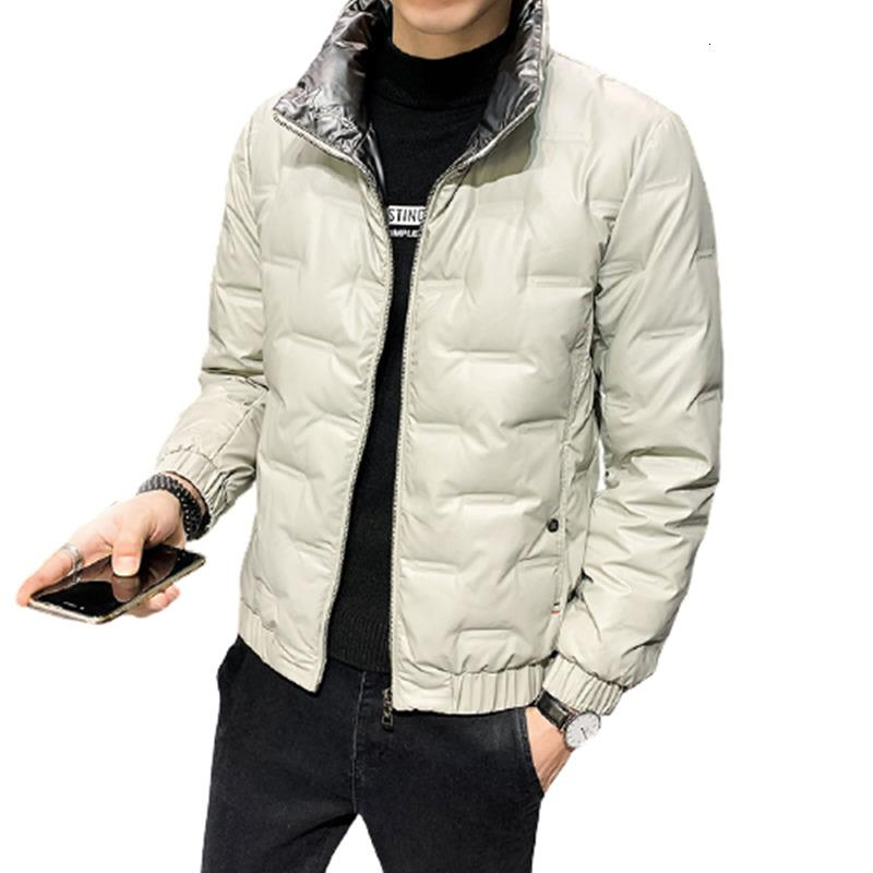 2021 New Winter Jackets Men Fashion Slim Fit Shiny Embroidered Stand Collar White Duck Down Jacket Mens Warm Overcoats Male Parkas E1t4