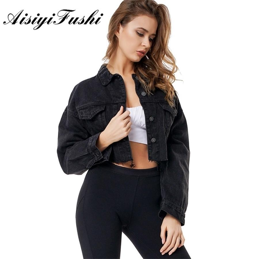 AisiyiIifushi Jeans Giacca Donne Black Boyfriend Jean Giacca Donne Denim Giacche Vintage Black Crop Top Long Sleeve Giacca Cappotti T200114