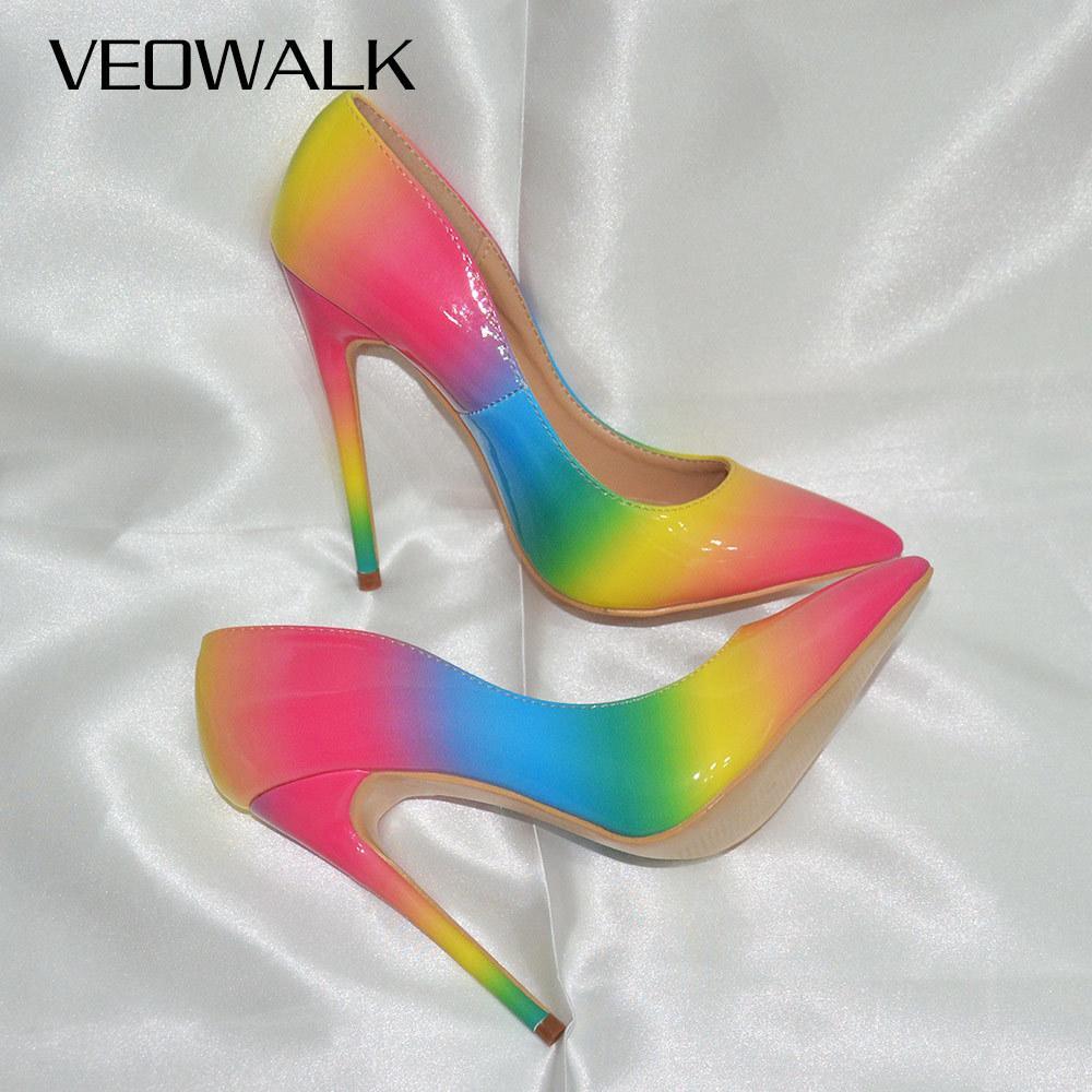 Veowalk Gökkuşağı Renkli Patent Deri Kadın Seksi Stiletto Sonelel Yüksek Topuklu, Bayanlar Moda Sivri Burun Pompaları Parti Ayakkabı 210225