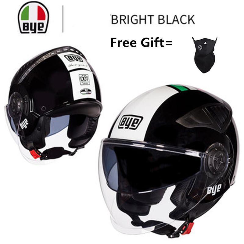 Cascos de motocicleta Dot Black Open Face Casco Casco Doble Lente Motocross Capacete de Cascos Para Casque Accesorios Moto ATV