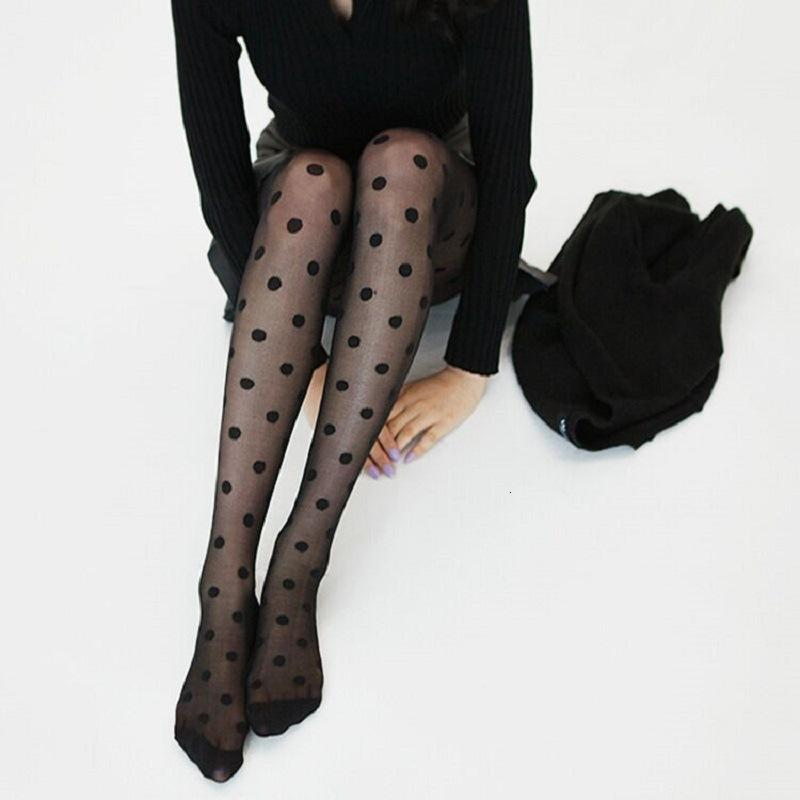 South Korea Big Ultra Thin Jacquard Pantyhose Dot Stockings Black White