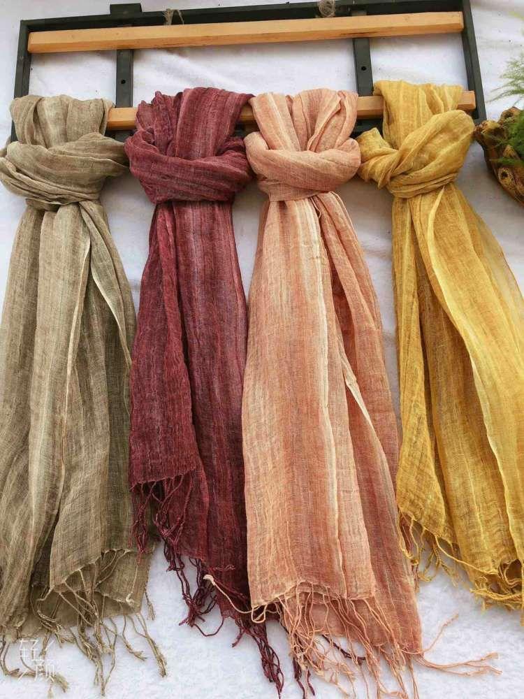 Tassel teñido bufanda de algodón de lino