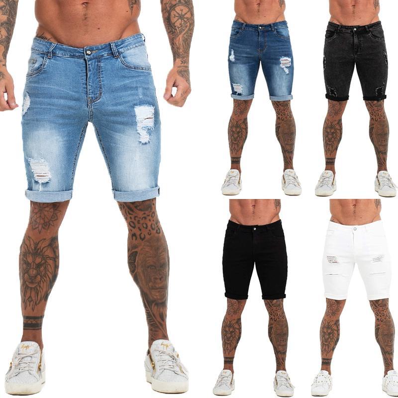 MENS FITNESS Denim Black High Cintura Romada Pantalones cortos de vaqueros de verano para la marca PLUS TAMAÑO CASUAL Streetwear DK03