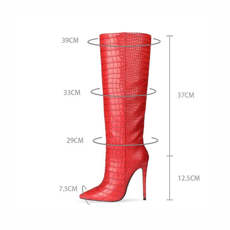 Europeia e moda apontada toe stiletto stiletto serpente manga longa tubo de manga feminina botas inverno mulheres sapatos whbt