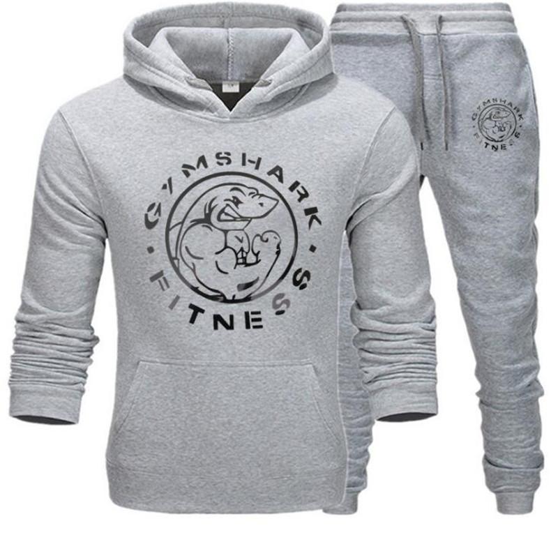 Jugend 2021New Männer Hoodies Mode Fitness Athleten Marke Trainingsanzug ausgekleidet Dicker Sweatshirt + Hosen Sportswear Anzug 59TP