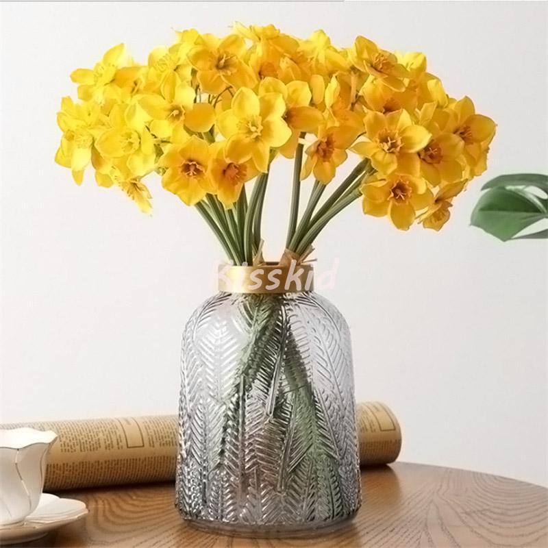 6head Narzissen Orchid Bündel Künstliche Blumen Blumenstrauß Hochzeit Dekoration Home Büro Tischdekor Blume Weiß oder Gelb