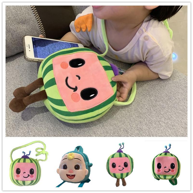 20 * 21cm Cocombellon JJ Boys Boys Cartoon Carino Peluche Zaino Baby Bambino Baby Schoolbag Watermelon Mini Girls Spalle Borse Borse Crossbody Packet per bambini Totes G61Expy