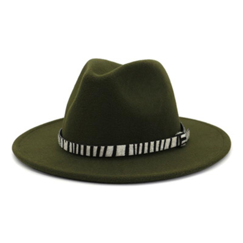 winter fedora hats women men solid color with band belt zebra vintage autumn women winter hats green red formal church men hats