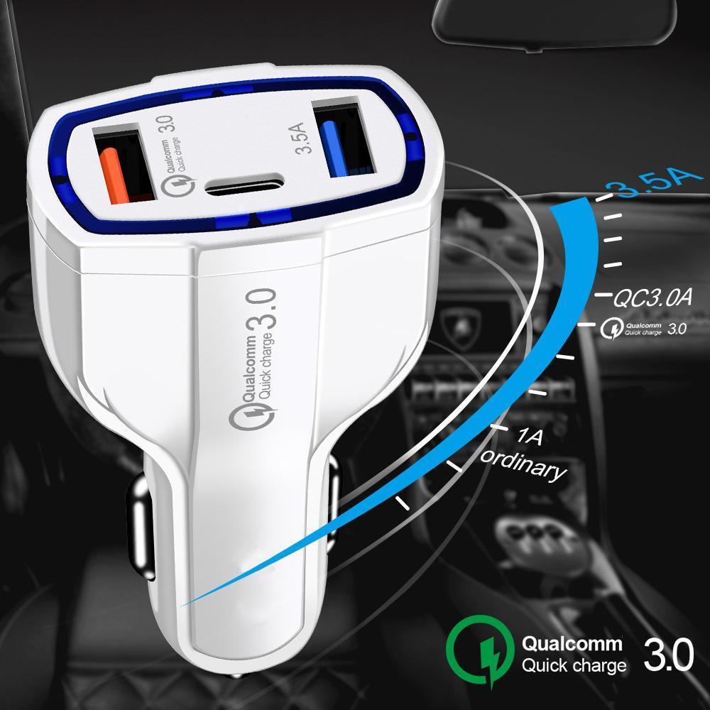 3 in 1 USB 차 충전기 빠른 충전 유형 C QC 3.0 아이폰에 대 한 자동차 전화 충전 어댑터에 대 한 빠른 PD USBC 충전기 Samsung MQ50