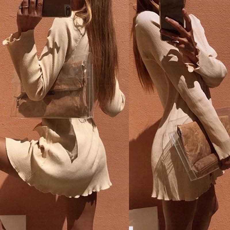 Женщины с длинным рукавом Sexy V-образным вырезом Кнопка сплошных цветных оборками Тонкое мини-платье M5TE