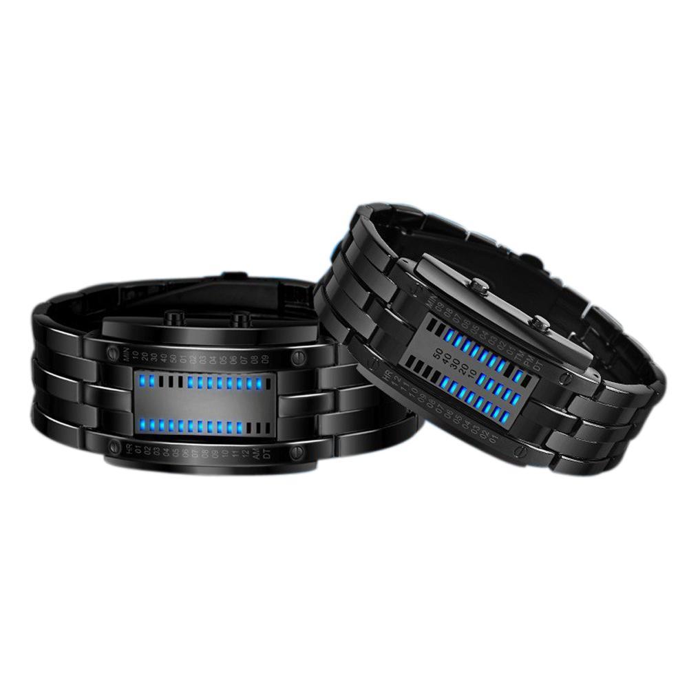 Relojes de lujo Amantes hombres mujeres acero inoxidable azul binario luminoso led dispositivo electrónico resistente a los choque relojes deporte moda moda
