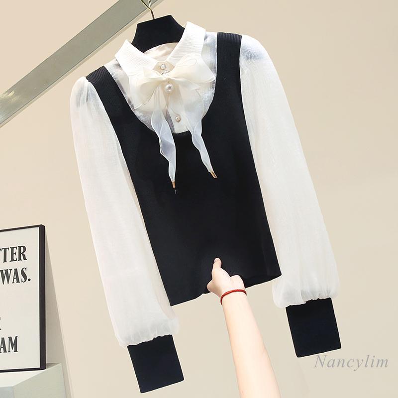 Frauen Blusen Hemden Personalisierte Pullover Chiffon Nähen Langarm Strick Hemd Lady 2021 Frühling Außergewirr Tops Nancylim