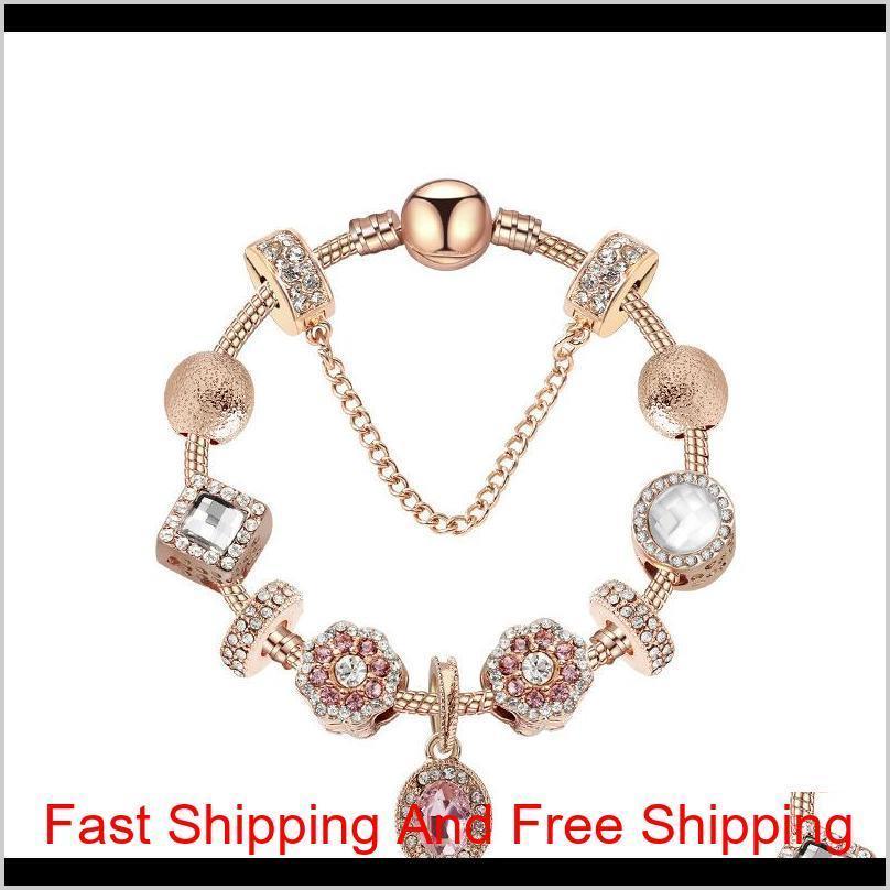 Розовое золото овальный подвесной браслет овальный розовый кристалл Cat-Eye Pend Qylrvi Nana_shop