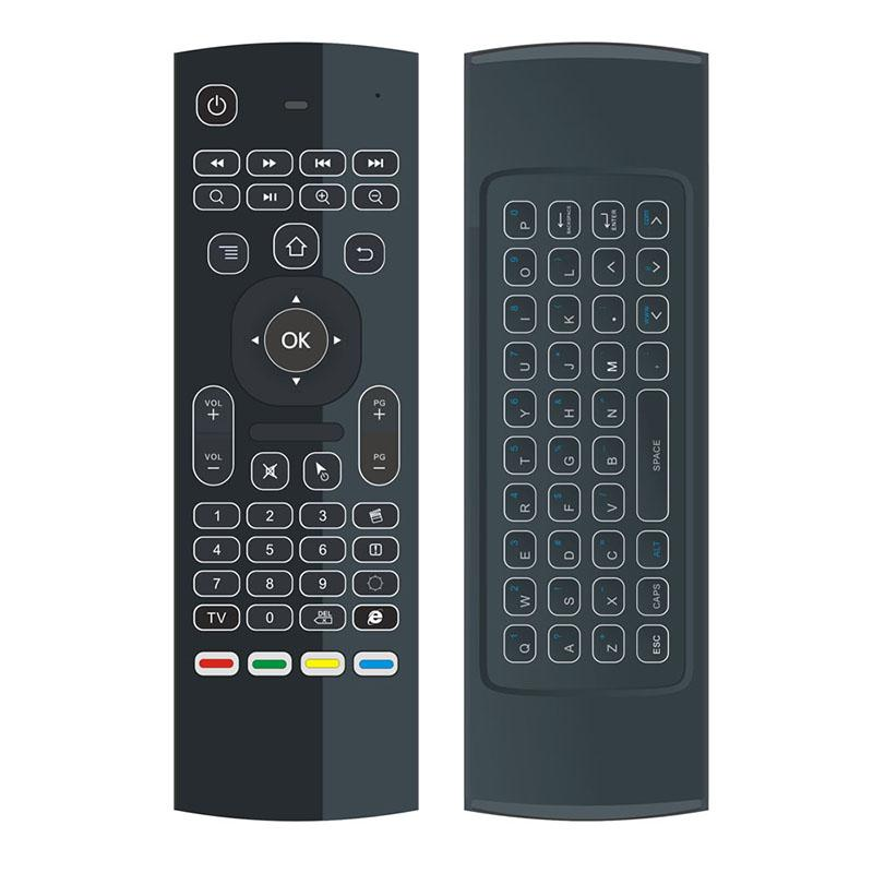 En iyi MX3 Arka Işık X8 Mini Klavye IR Öğrenme QWERTY 2.4G Kablosuz Uzaktan Kumanda 6AXIS Android TV Kutusu Için Hava Fare Arkadan Aydınlatmalı