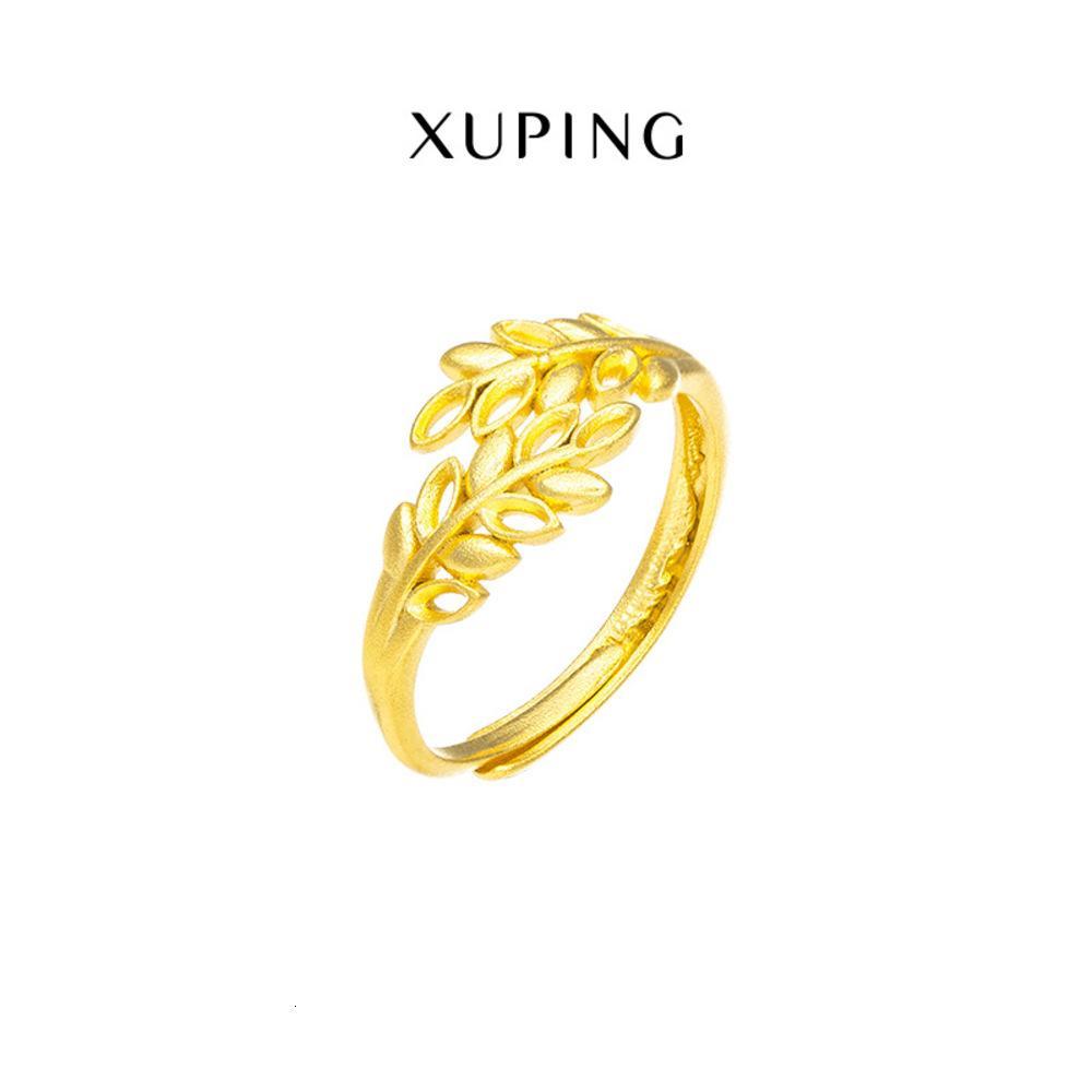 XUPING Yeni Basit Kişilik 24 K Altın Kaplama Açık Yaprak Kadın Moda Takı Yüzük