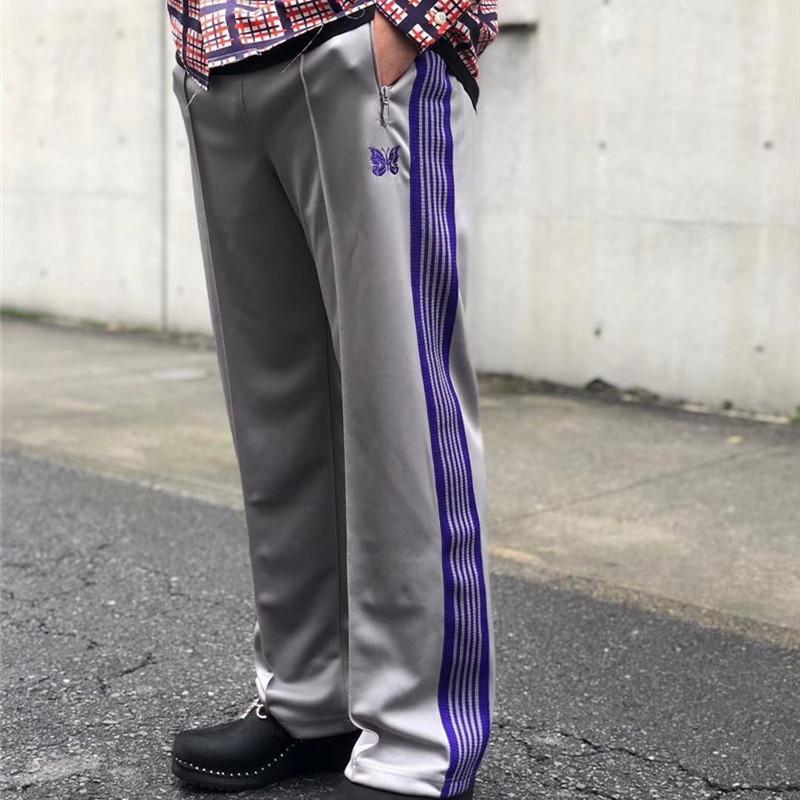 2021 Новая бабочка вышивка спортивные штаны 1: 1 Лучшее качество Joggers randstring radge брюки желтые красные полосатые иглы брюки 0vyz