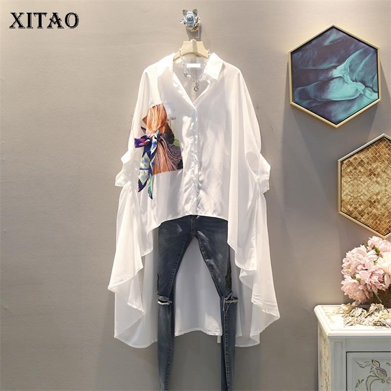 Xitao irregolare pieghettato nero camicia bianca camicia da donna vestiti tide stampa pulsante blusa top estate moda nuova corrispondenza tutto 210302