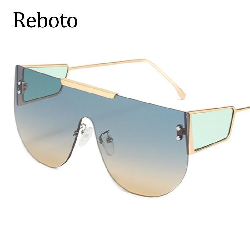 Солнцезащитные очки Негабаритные Пилоты Женщины 2021 Дизайнер RIMLED Большой Рамка Зеленые Солнцезащитные Очки Женские Очки