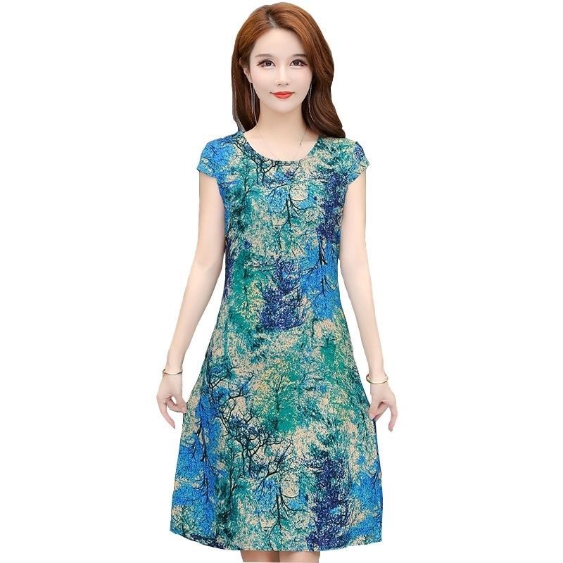 Vestido Vintage Vestido de verano Más Vestidos de Tamaño Vestido Imprimir Natural Regular Regular Fanmuer Manga Corta O-Cuello Casual Casual Women 210309