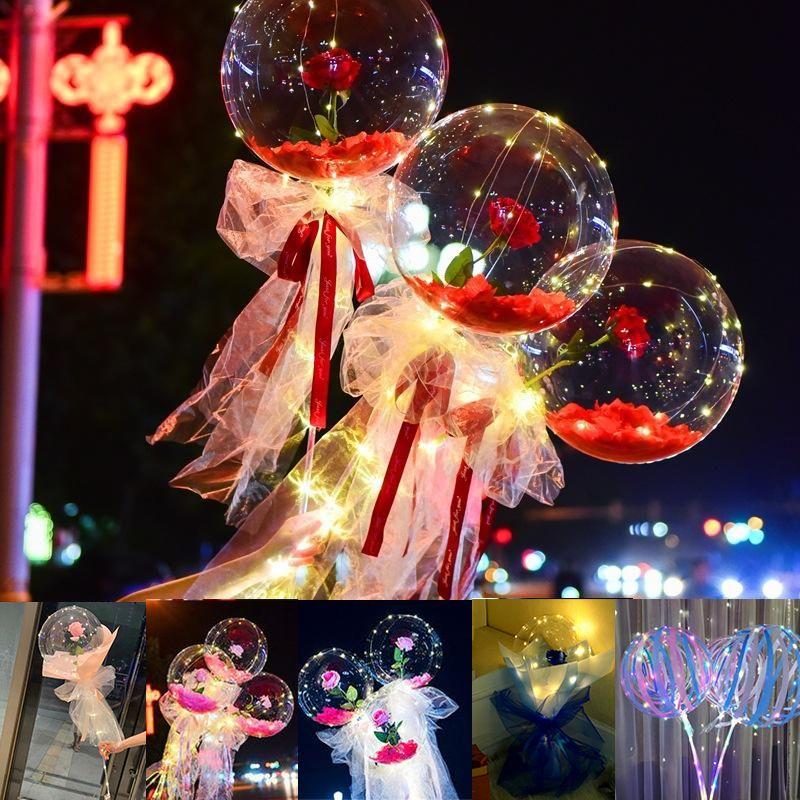 الصمام سلسلة ضوء diy روز زهرة بوبو بالونات الجنية الإضاءة مع العصي باونات باقة شفافة للحزب بالون الزفاف عطلة الديكور