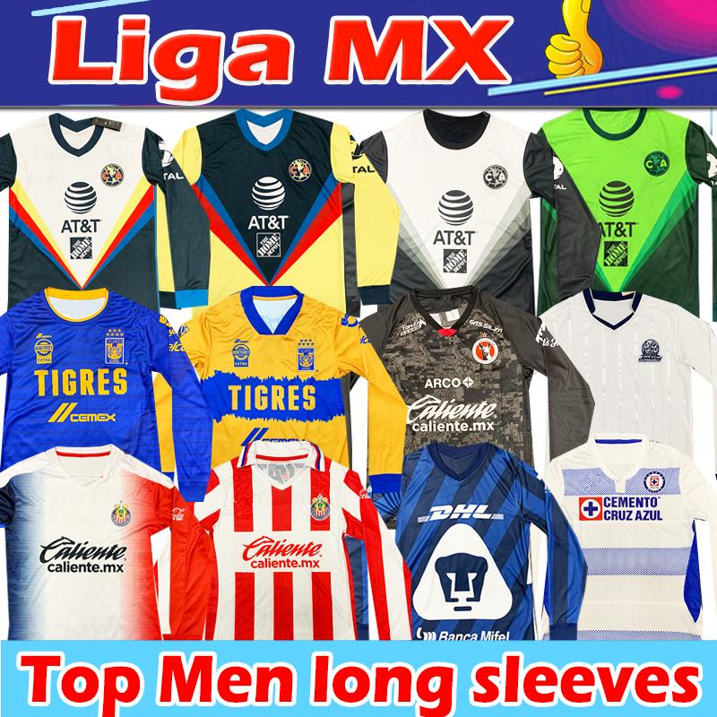 Liga MX 2021 Soccer Jerseys Club América Tijuana Chivas Cruz Azul C.F. Mangas compridas Jersey Camisetas Chándal de Fútbol Homens Camisas de futebol