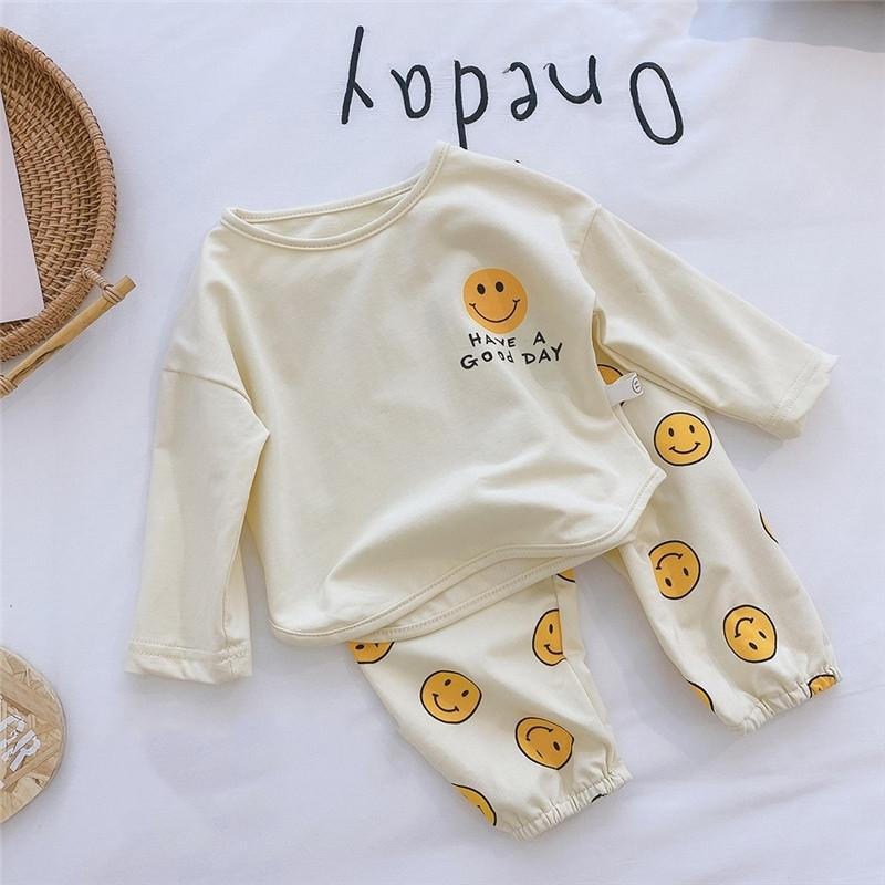Primavera criança bonito crianças solta roupas casuais meninos meninas sorrir manga longa camisas de algodão e calças soltas 2 pcs covas definir 210309
