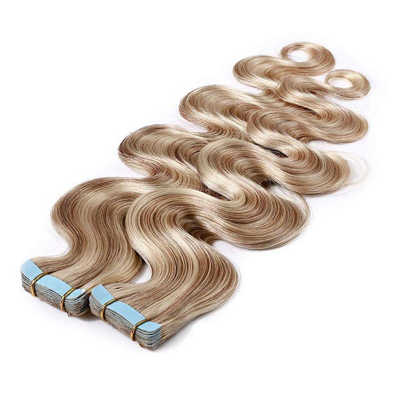 Fita em extensões de cabelo 100% onda corporal de cabelo humano destacado P18 / 613 longo macio remy cabelo trama de pele sem emenda invisível tape dupla fita 40 pcs 100g