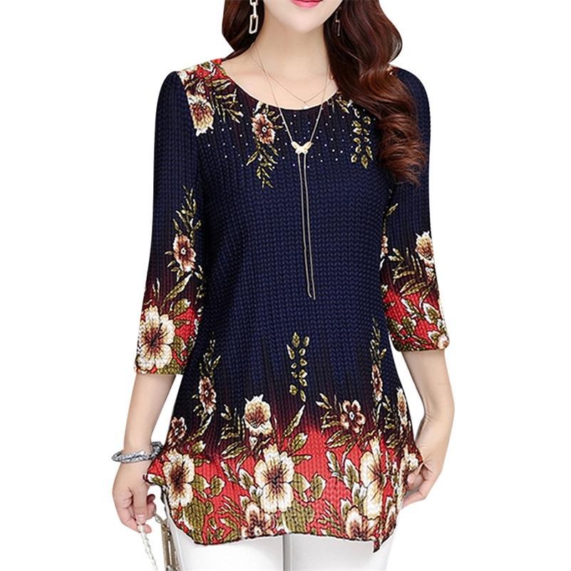 Donne Top 2021 New Bluses Camicia Plus Size 4XL Casual Blue Red Women's Abbigliamento O-Collo Stampa floreale Top femminile BlusAS 993D 210303