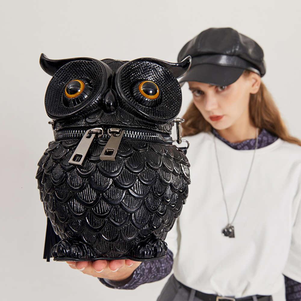 2021 en relieve tridimensional creativo bolso de mujer simulación búho un hombro bolsa de mensajero animal borla bolsa de mano