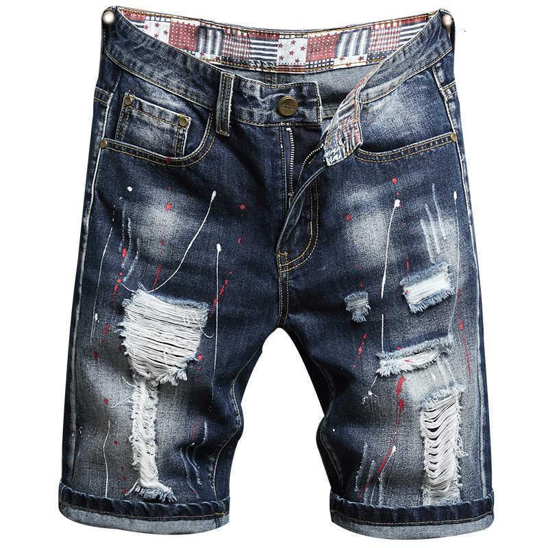 Pantalones cortos de verano Personalidad Jeans Pantalones de 5 puntos para hombre